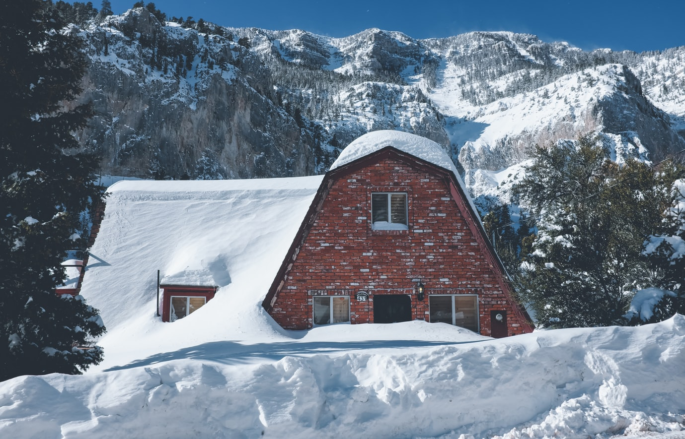 A house covered in snow